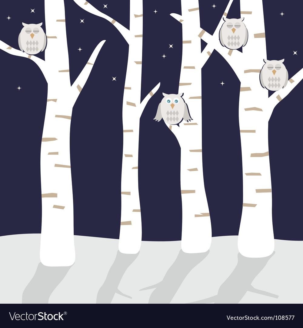 Snowy owls vector