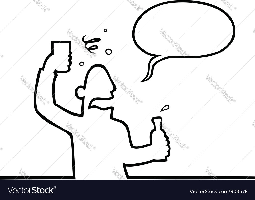 Drunk man with alcoholic beverage vector