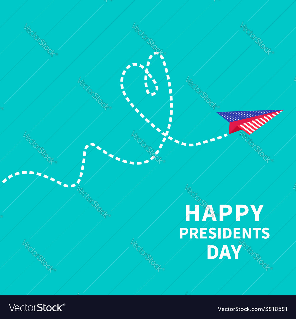 Paper plane with heart dash line presidents day vector
