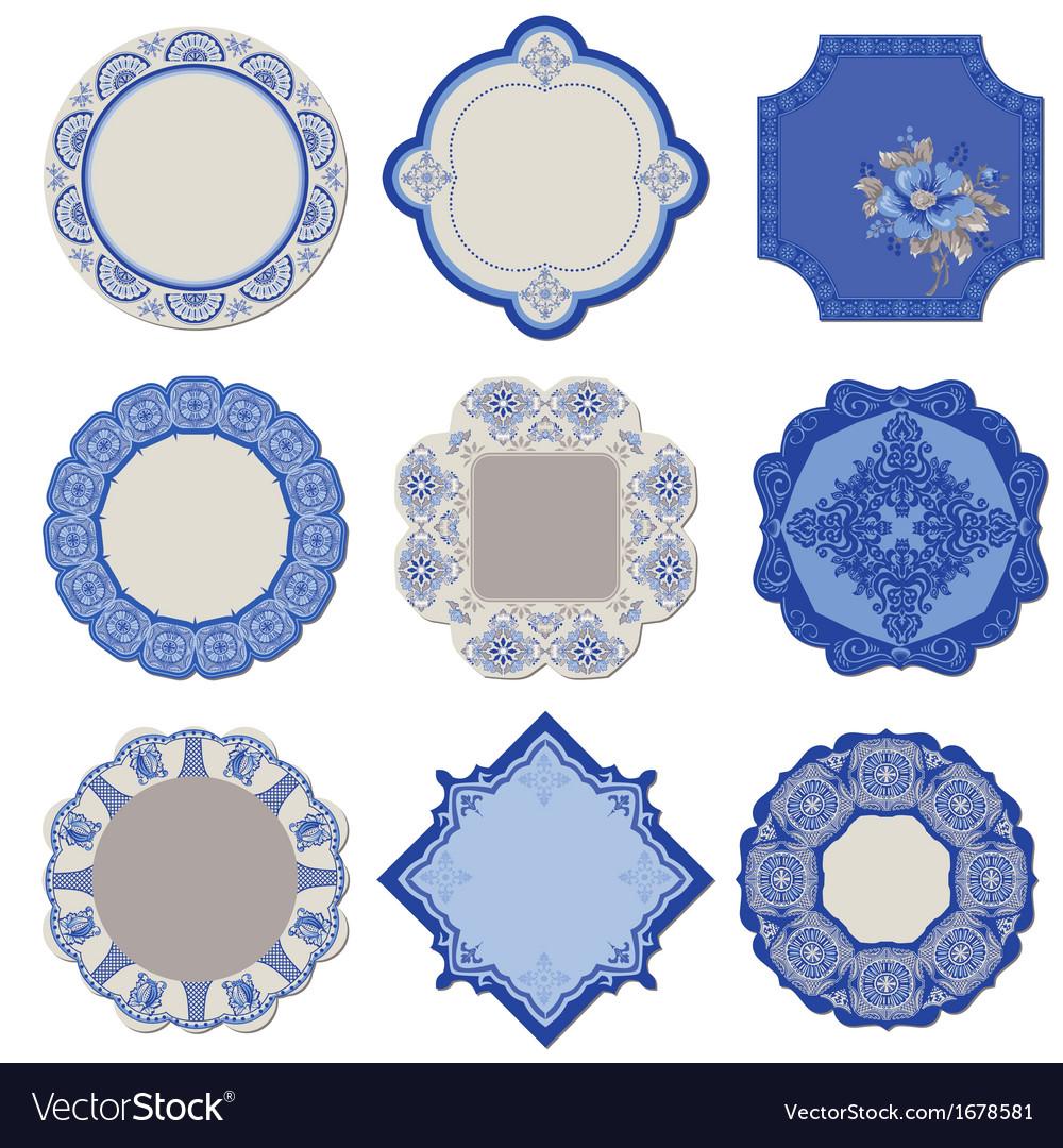 Victorian tags and frames - porcelain vintage set vector