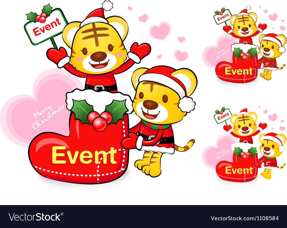 Tiger santa claus and deer mascot the event vector