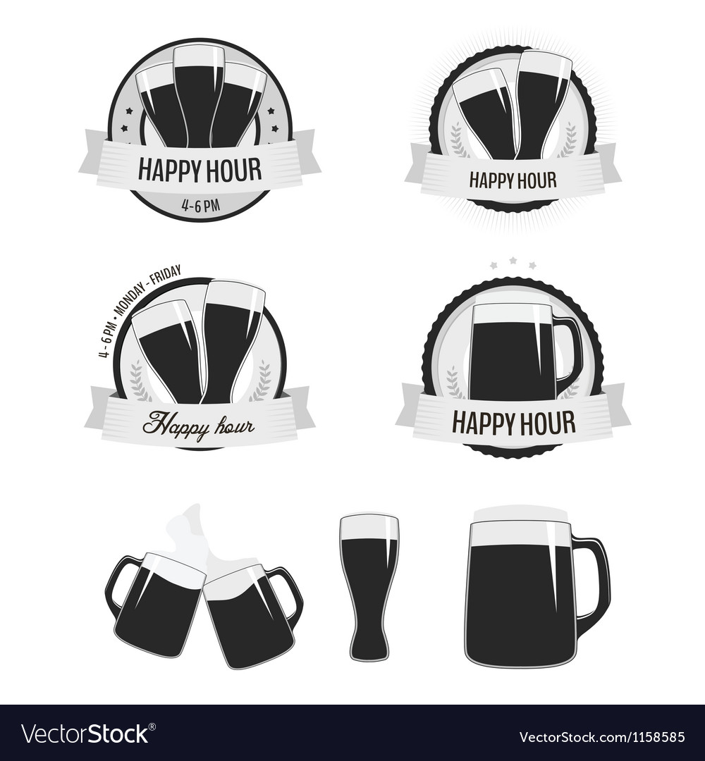 Set of happy hour labels and beer icons vector