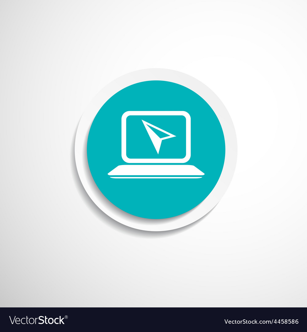 Laptop icon on button with original vector