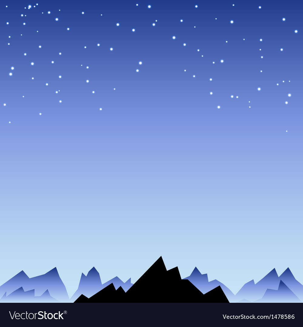 Night sky with star and mountain spike vector
