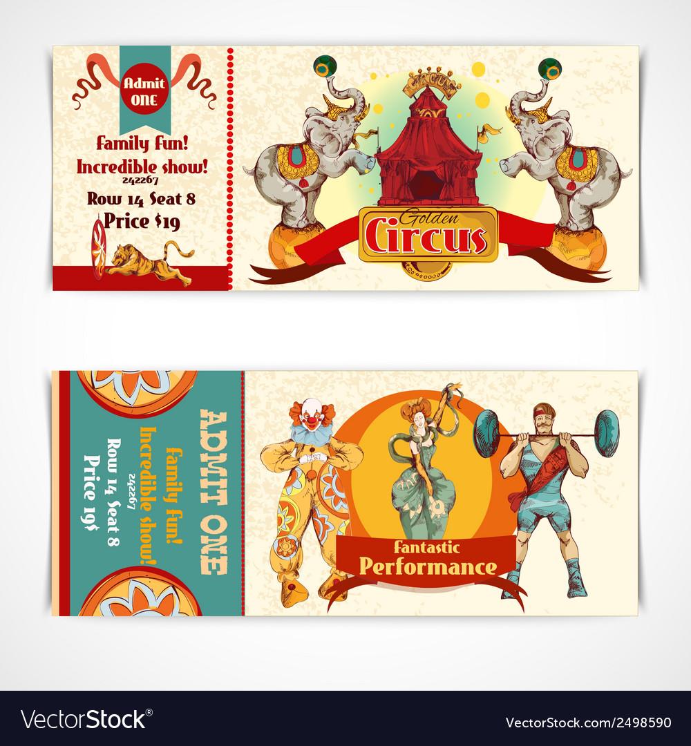 Circus vintage tickets set vector