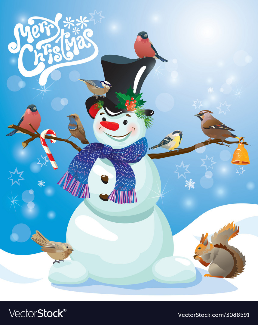 Card with funny snowman and birds on blue snow bac vector