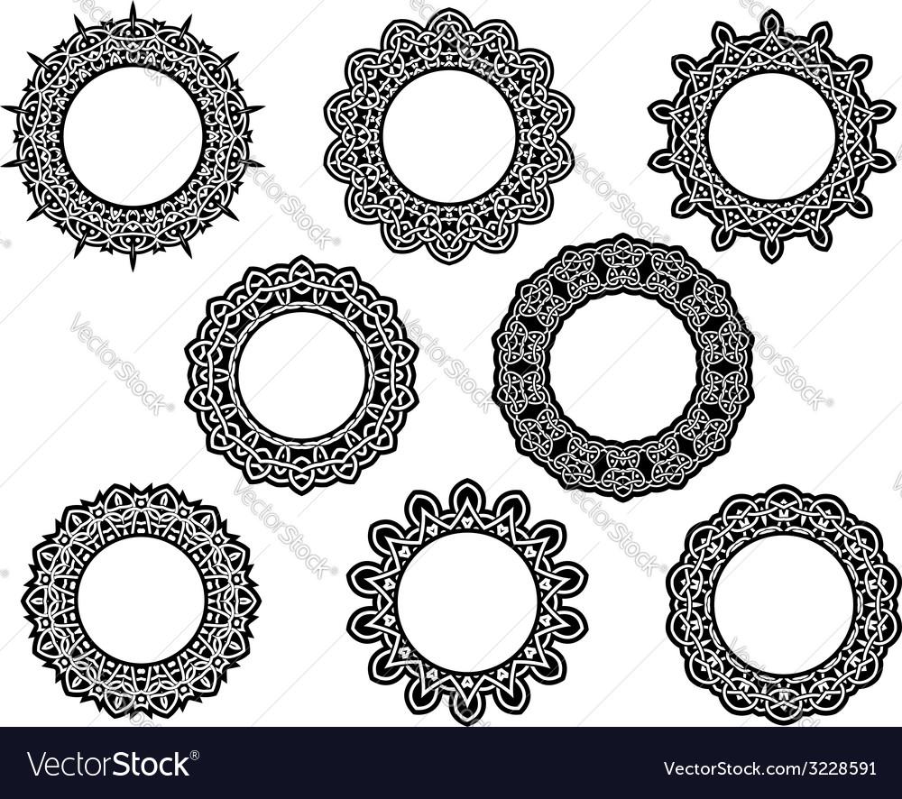 Set of intricate vintage lace frames vector