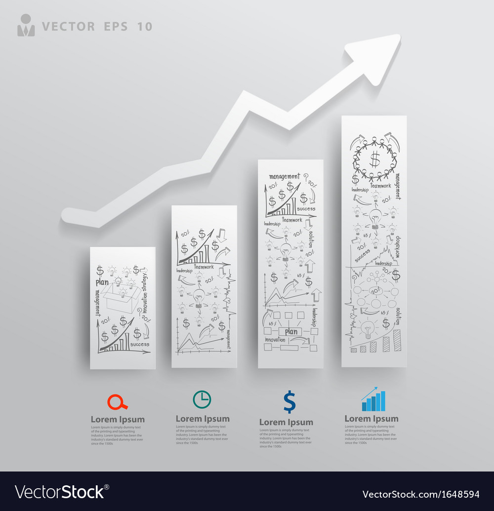 Charts and graphs with drawing business success vector