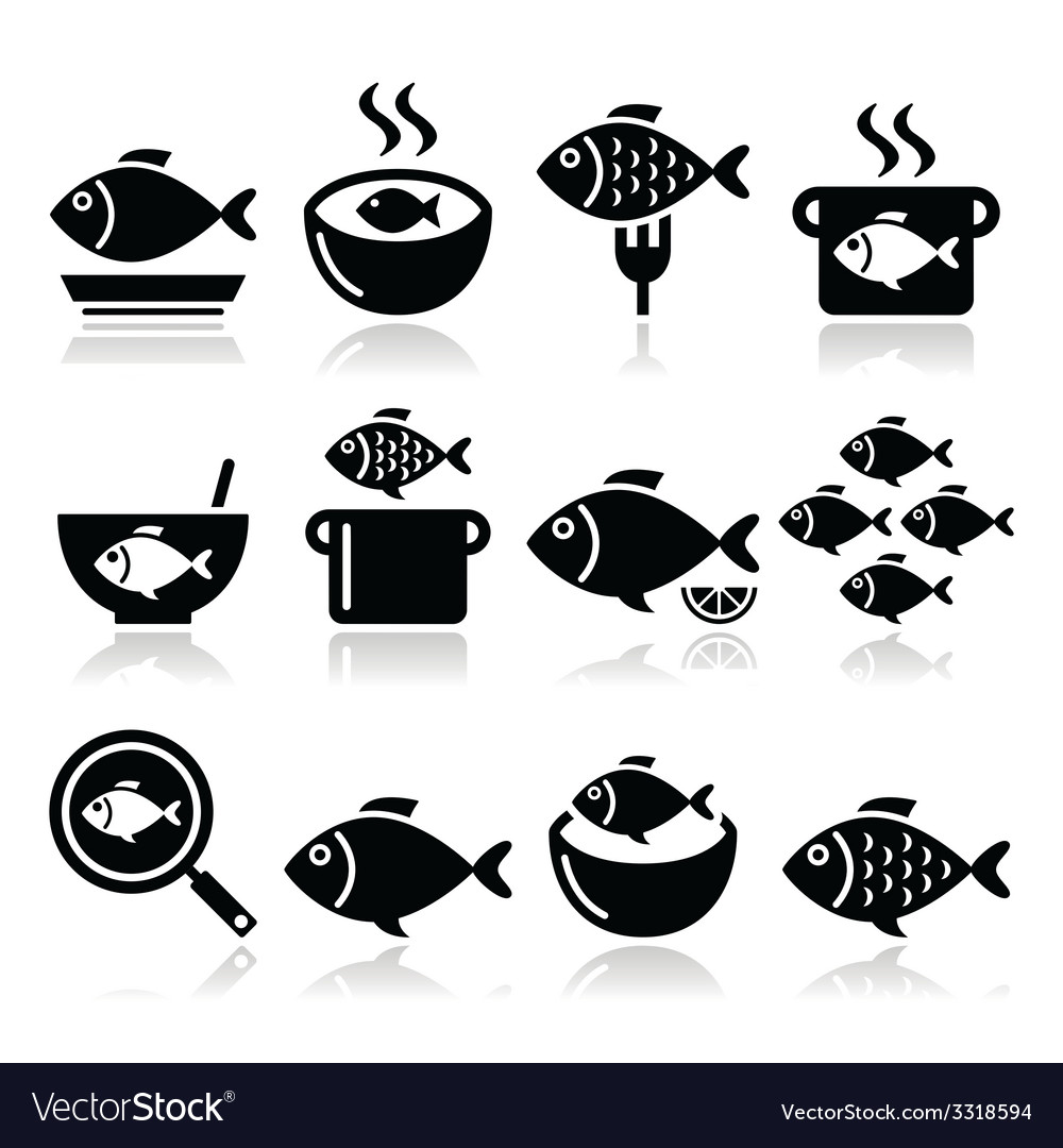 Fish meals icons - soup chowder goulash fried vector