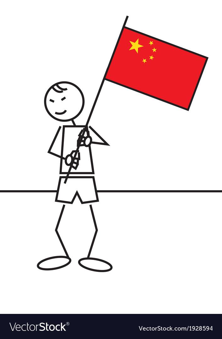 Stick figure china flag vector