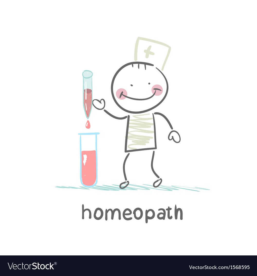 Homeopath medicine prepared in test tubes vector