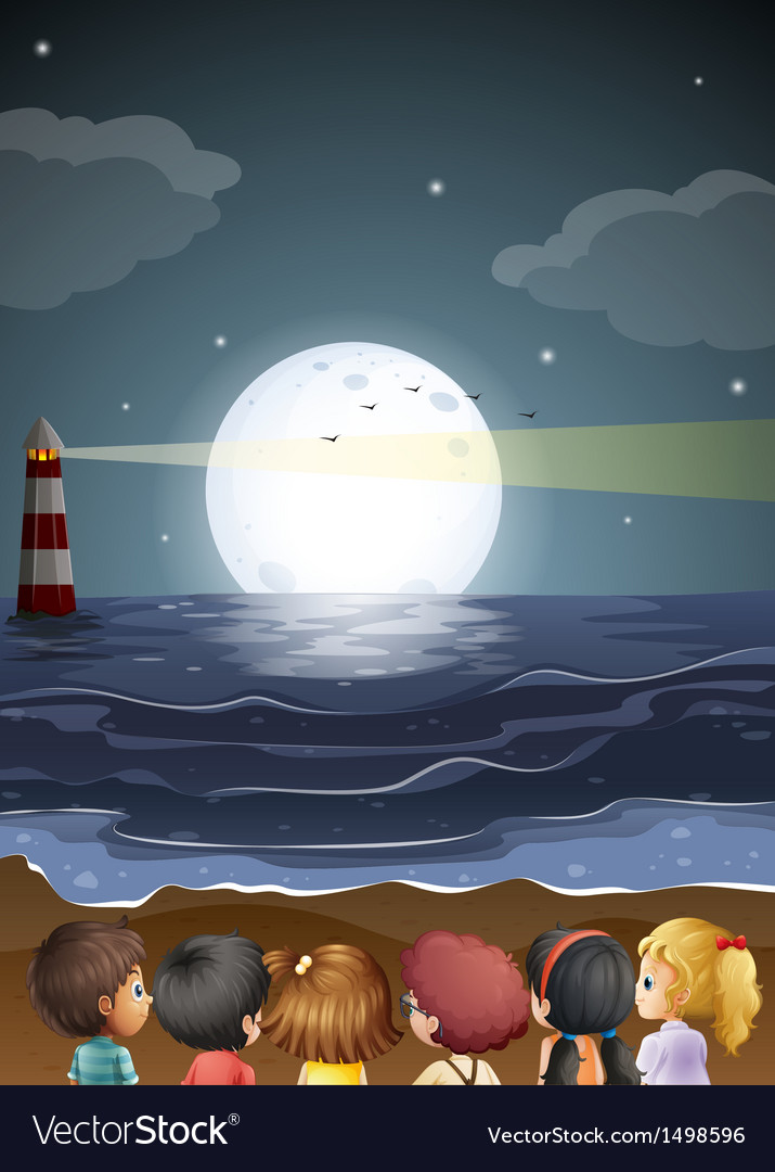 Kids watching the fullmoon at the beach vector