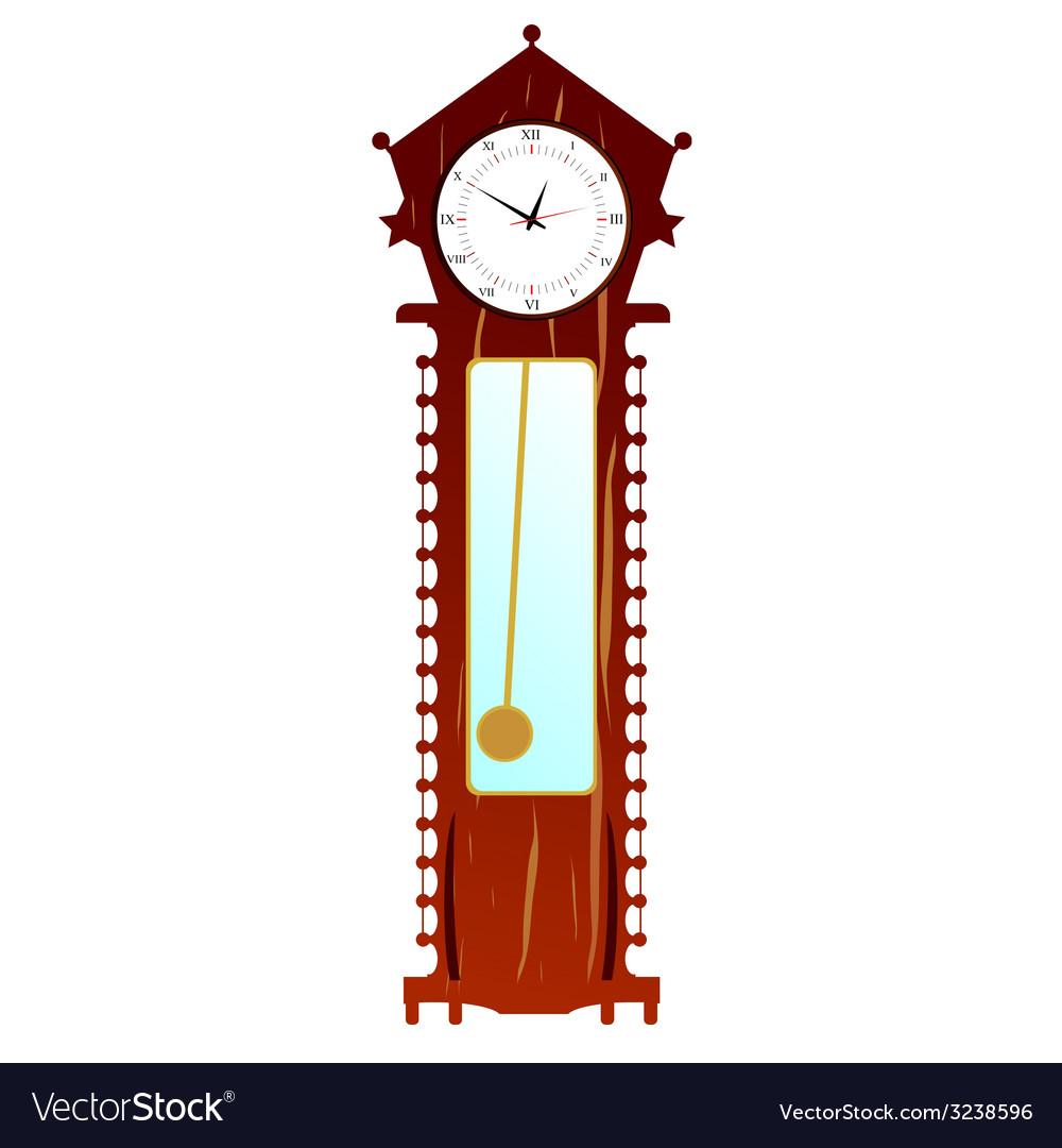 Old clock in brown color vector