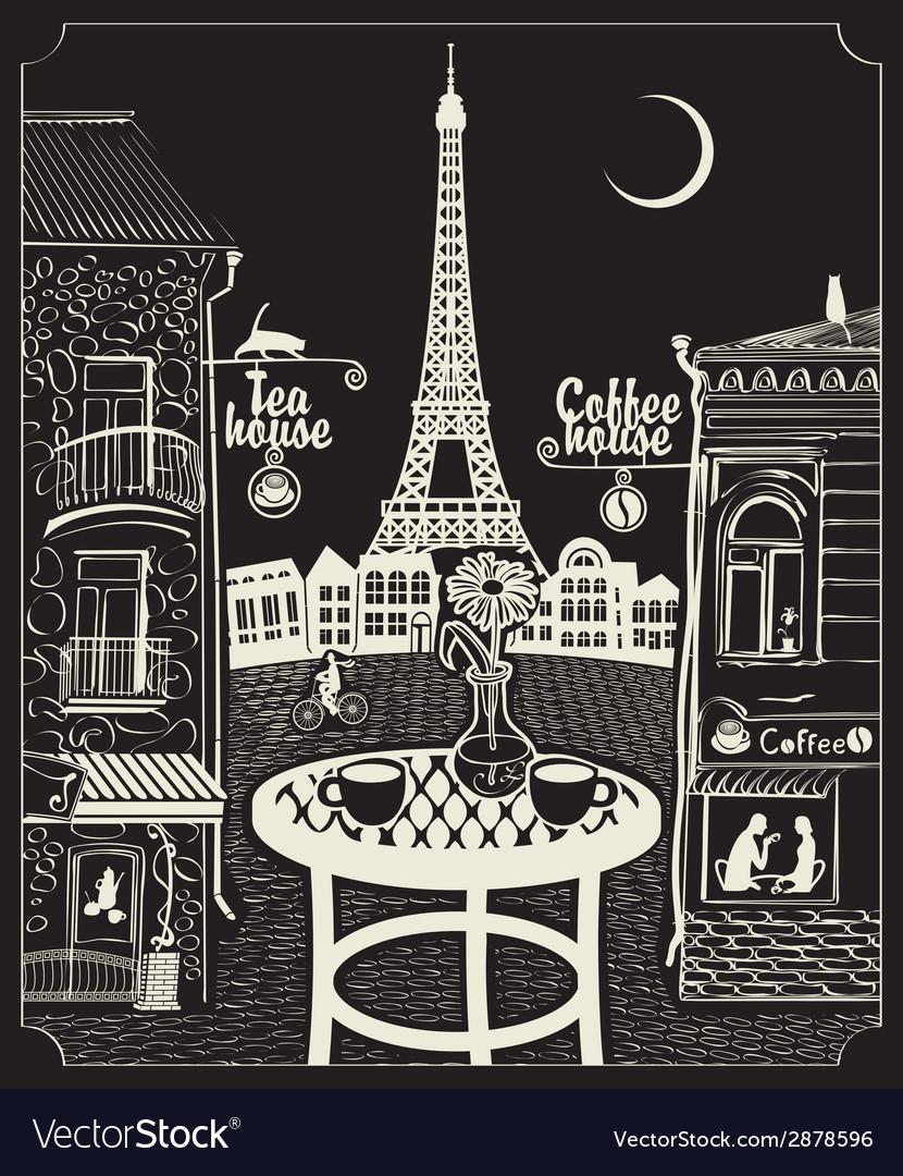 Paris night cafe vector