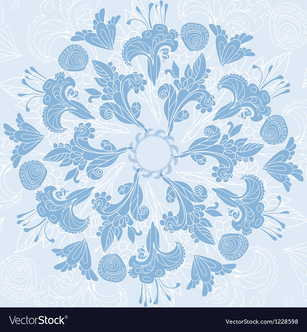 Blue floral ornament background vector