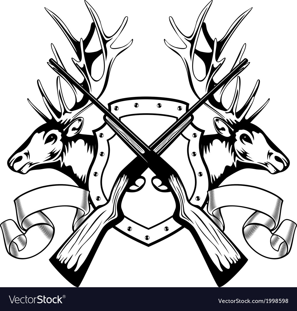 Elk heads crossed rifle and board vector