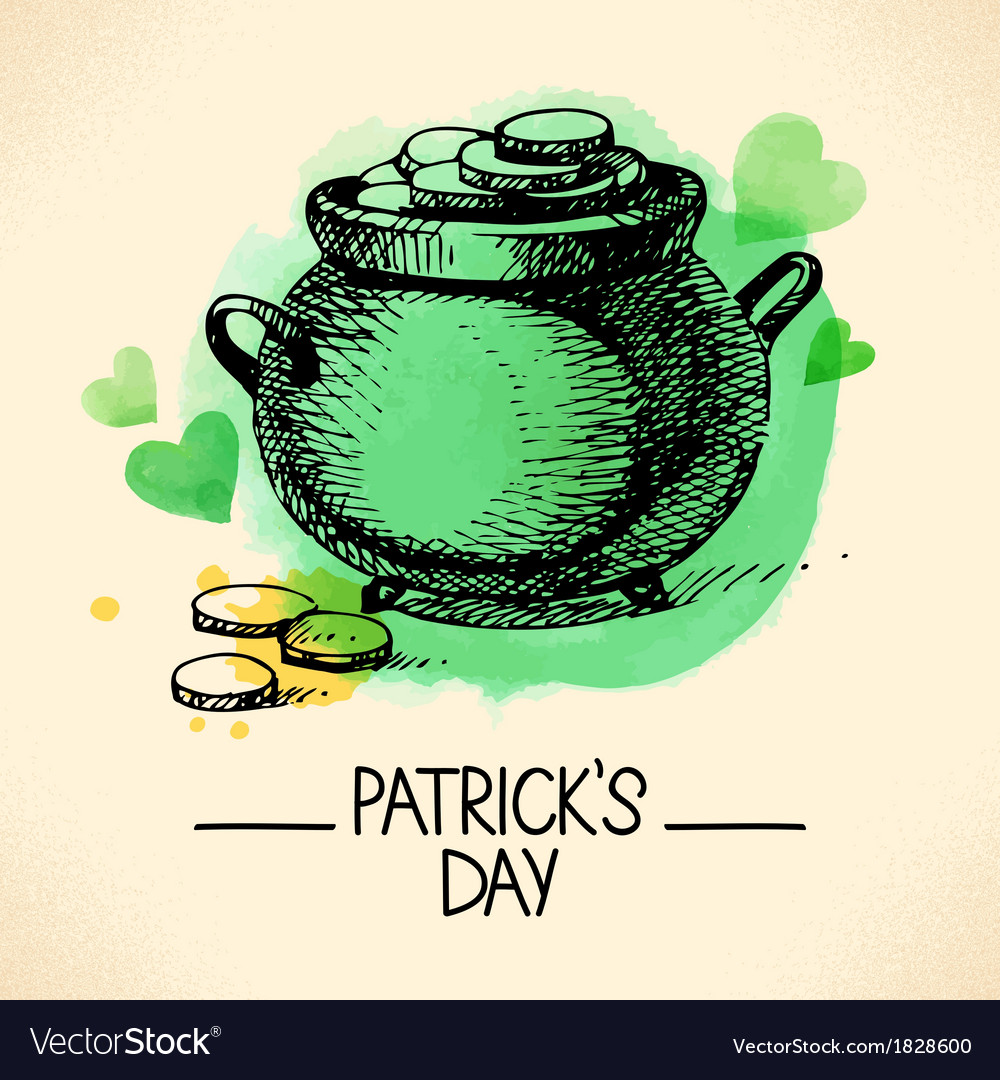 St patricks day background with hand drawn sketch vector