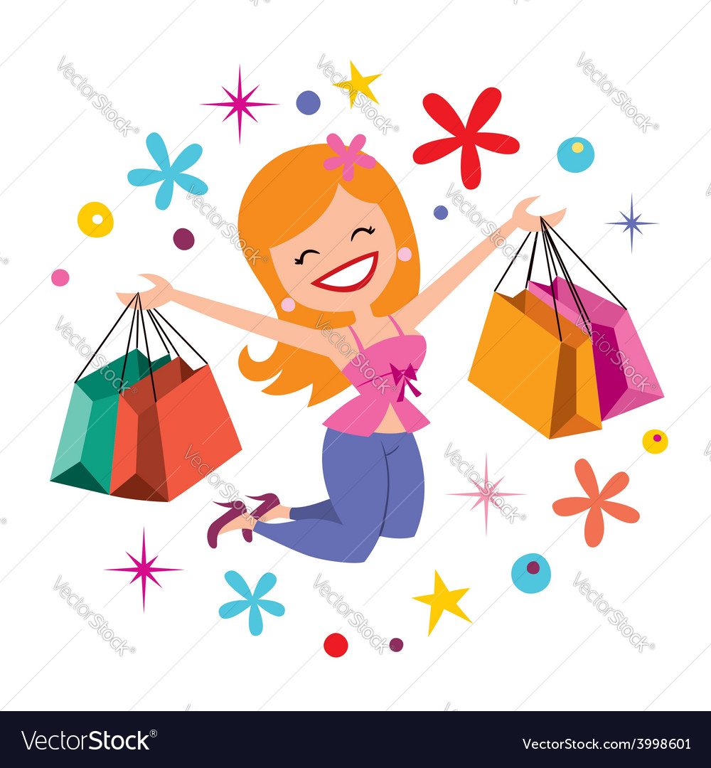 Happy girl shopping 2 vector