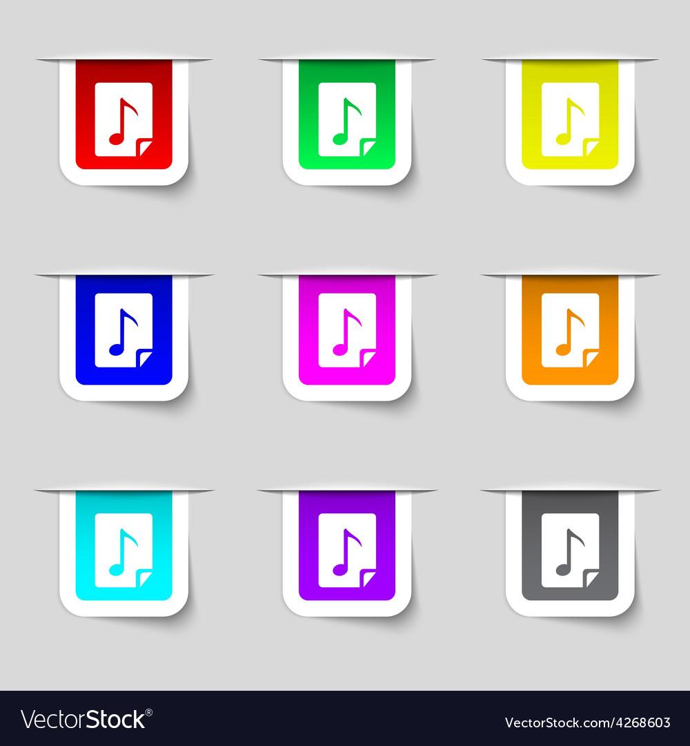 Audio mp3 fileicon sign set of multicolored modern vector