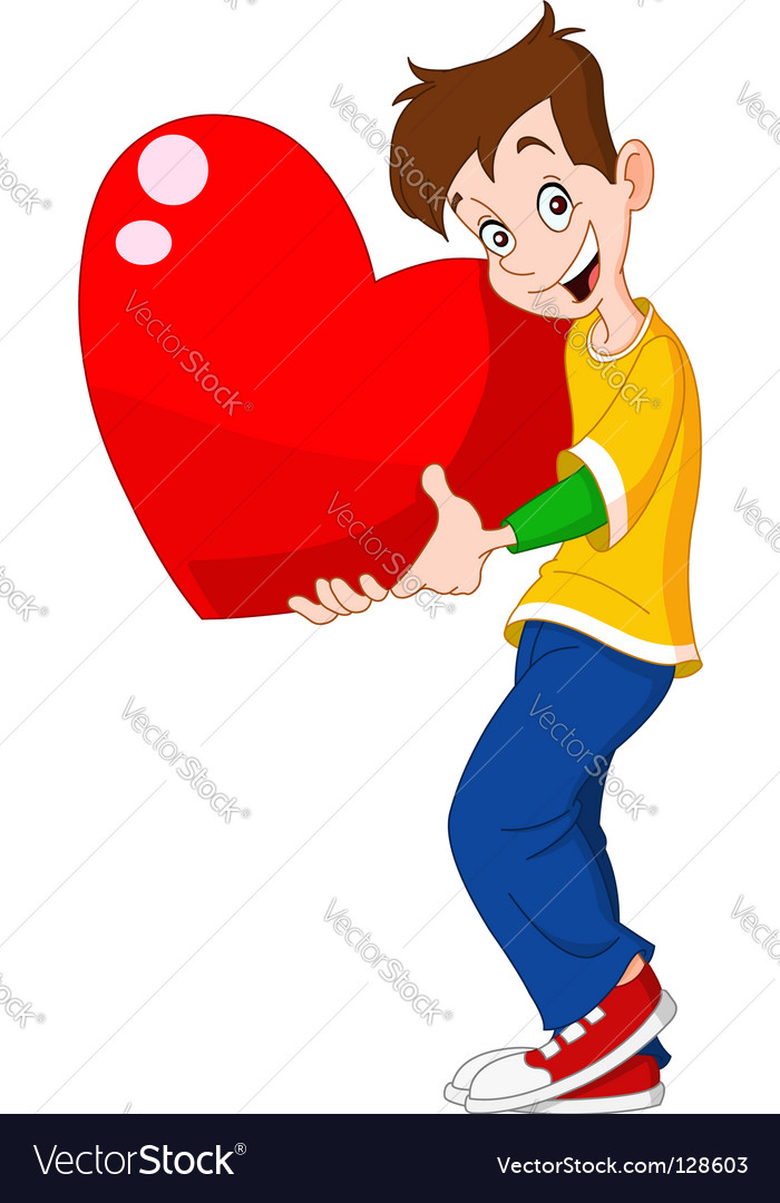 Teenager holding heart valentine vector