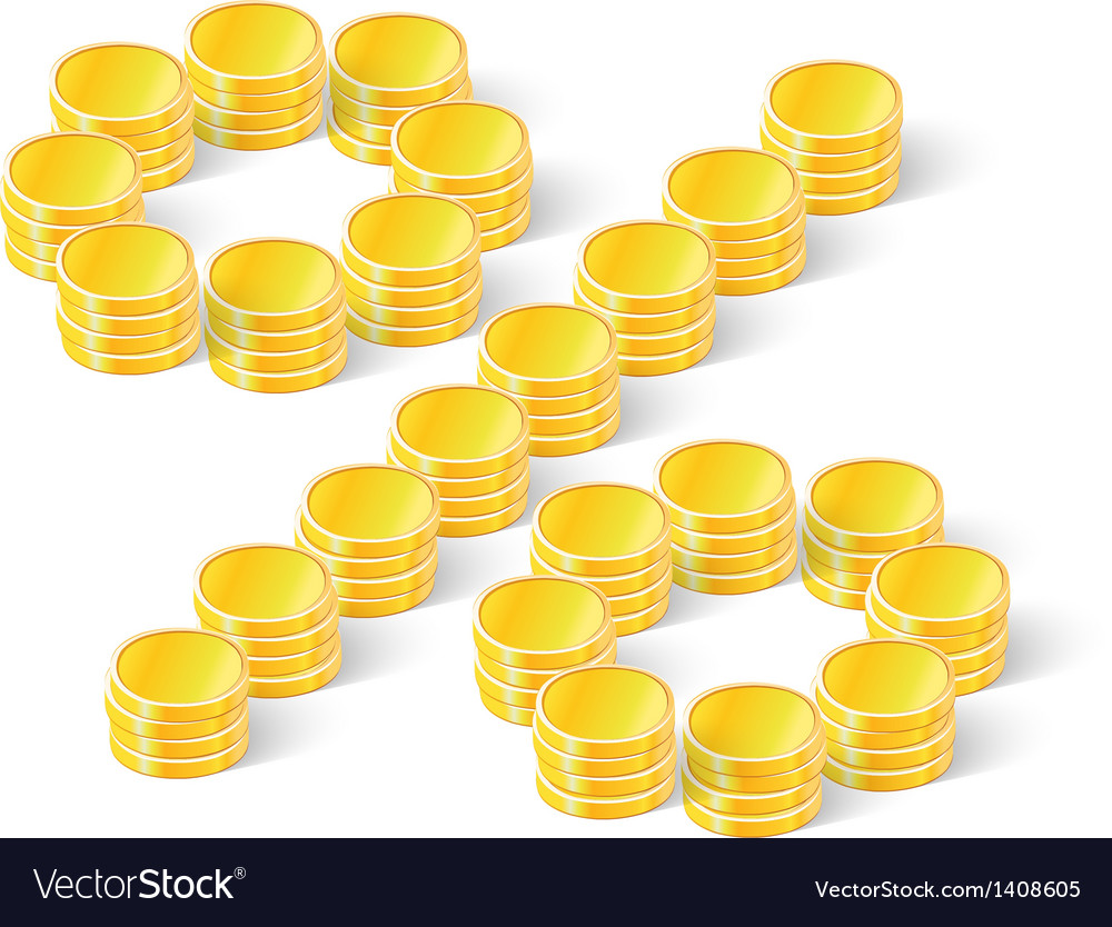 Percent sign from coins vector