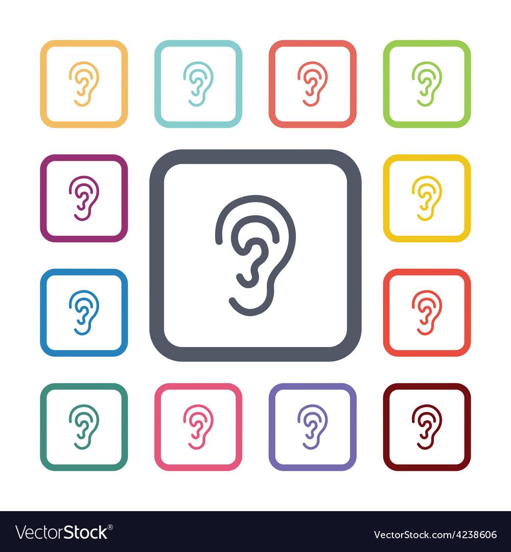 Ear flat icons set vector