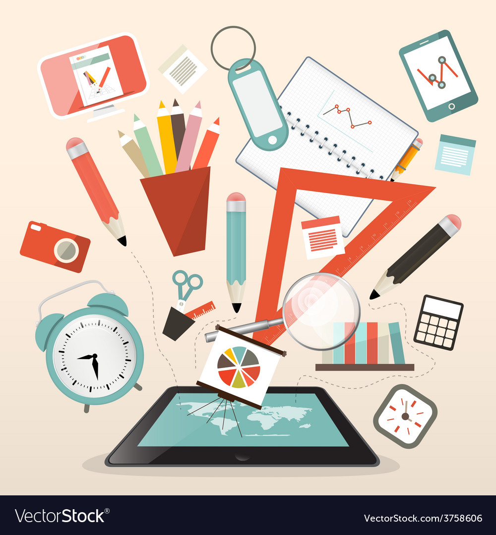 School items - learn and study management vector