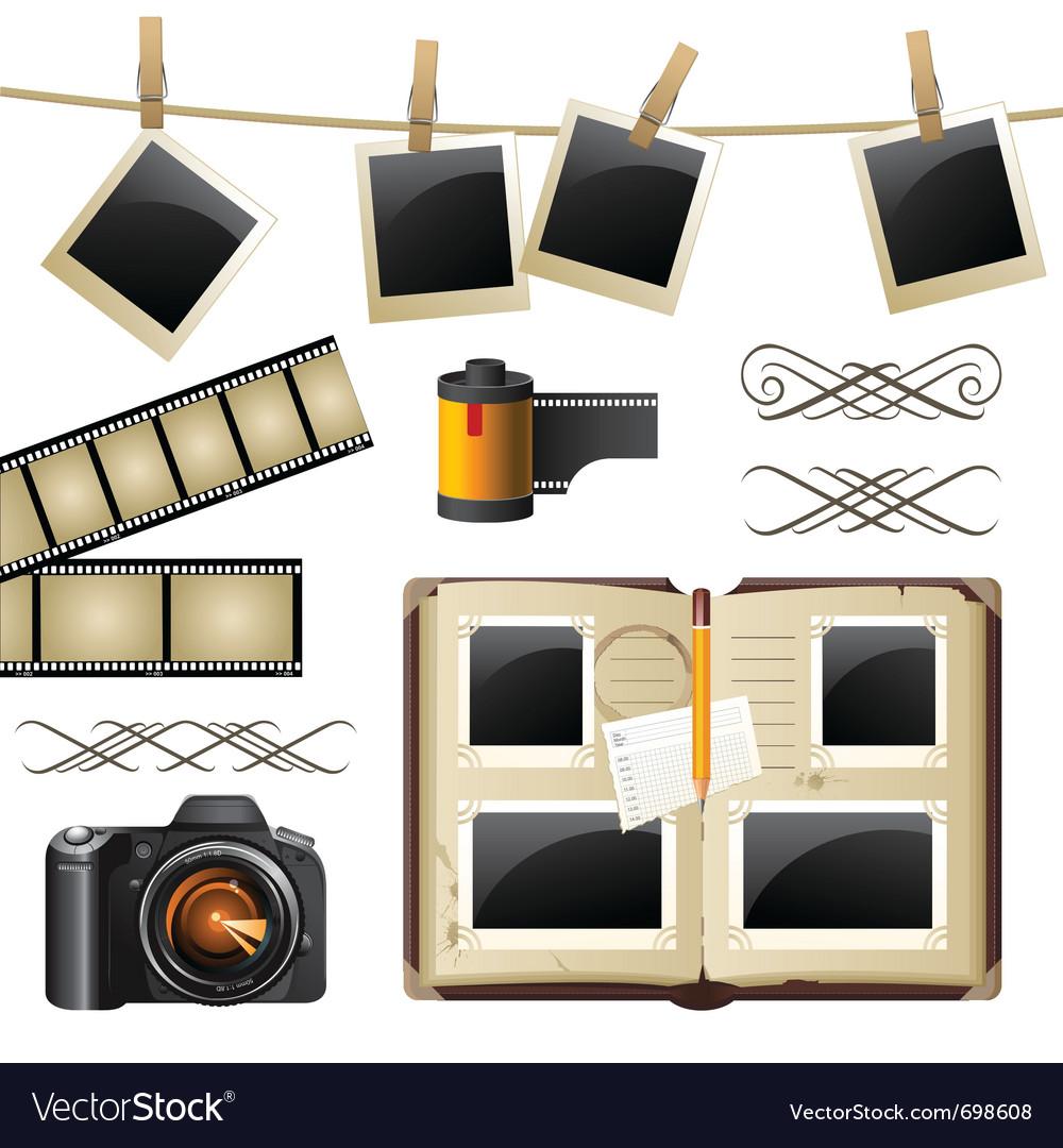 Retro-styled photography set vector