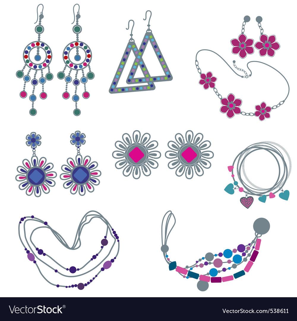 Fashion jewelry vector