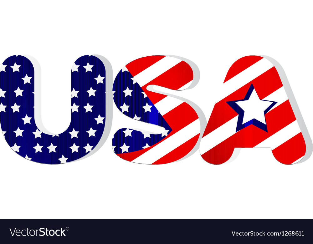 Usa word in flag colors vector