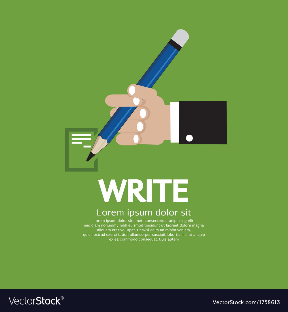 Hand holding a pencil vector