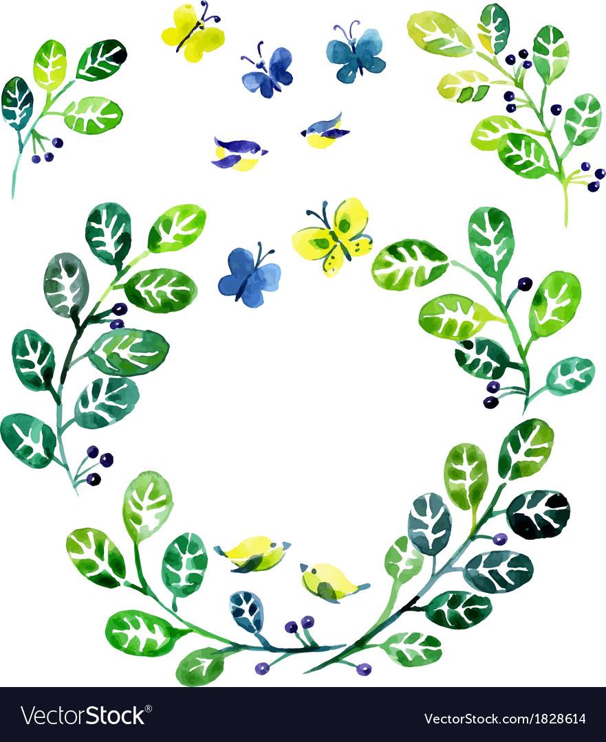 Watercolor floral design elements vector