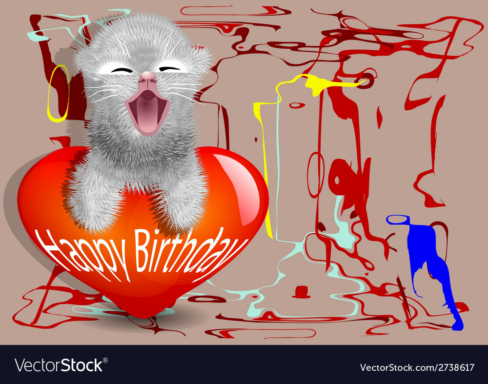 Birthday card with fun cat vector