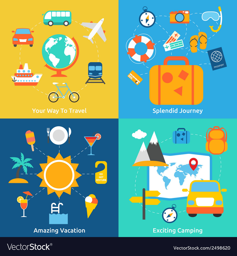 Flat travel concepts vector