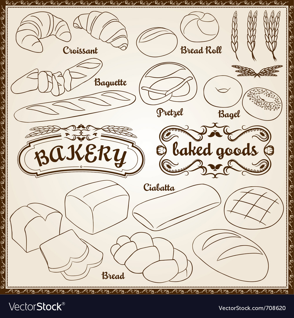 Outline bakery set vector