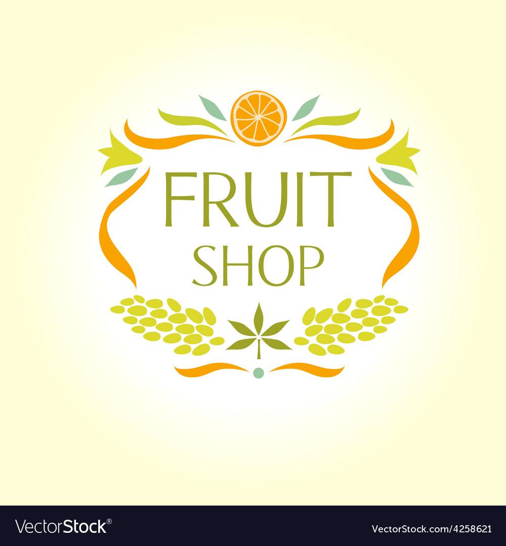 Fruit shop vintage logo vector