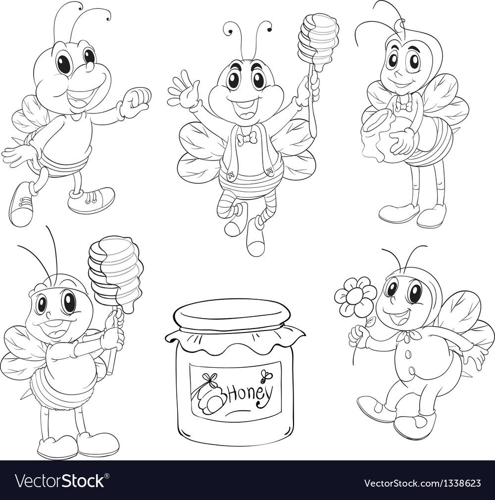 Doodle design of bees vector