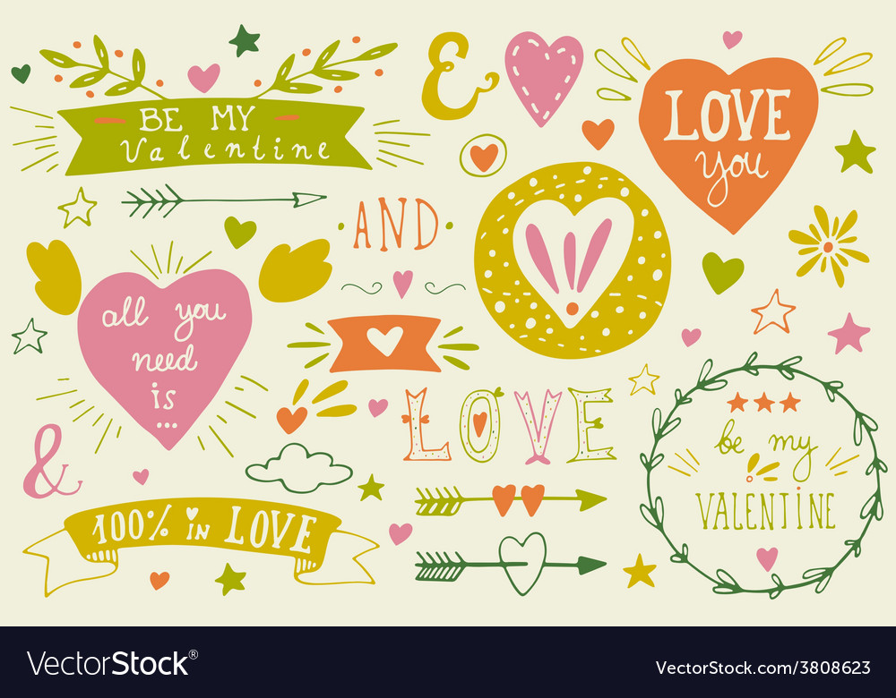 Valentines day design elements vector