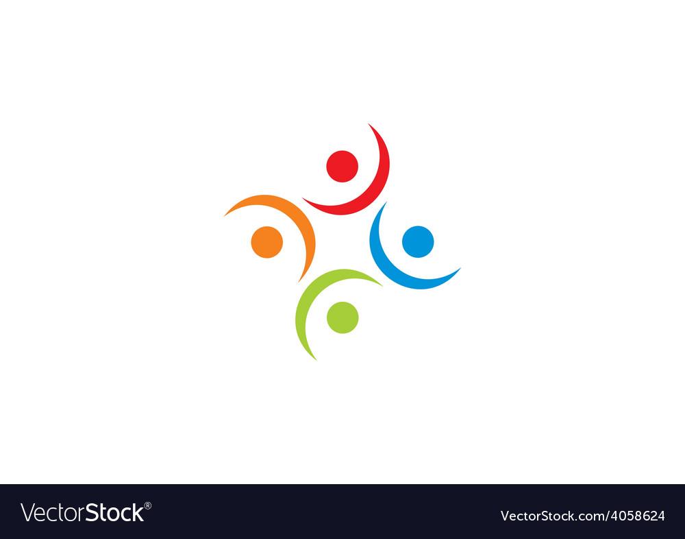 Circular people group logo vector