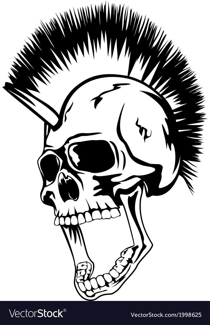 Head punk skull vector