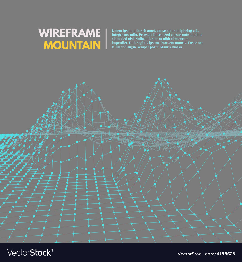 Wireframe mesh polygonal surface vector