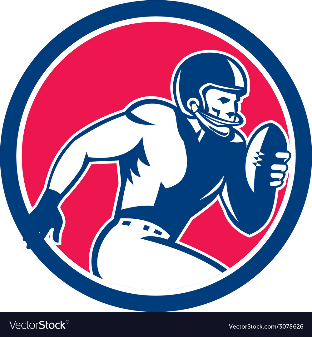 American football player running circle retro vector