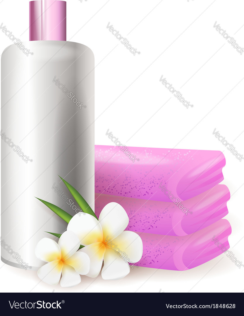 Bottle of shampoo with plumeria vector