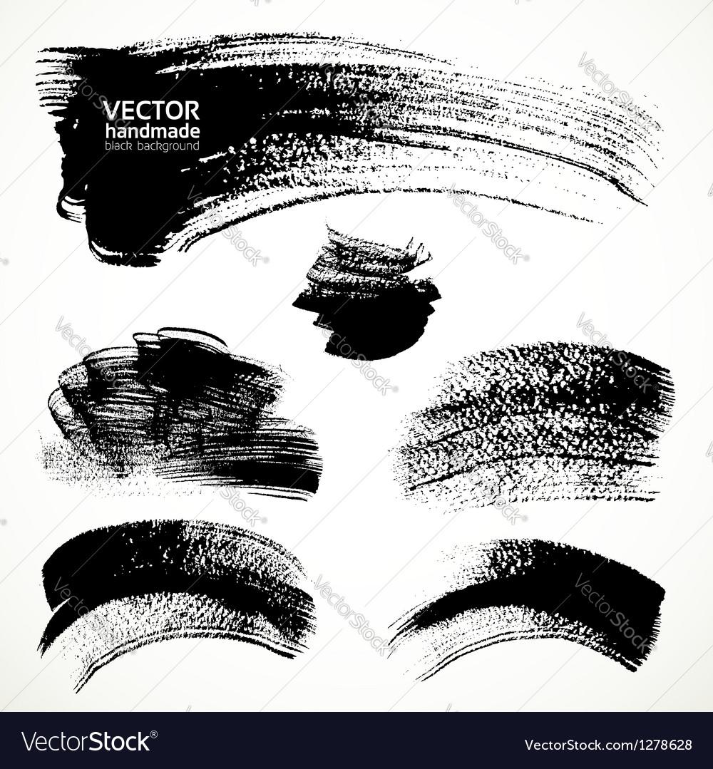 Figured brushstrokes brush and ink vector