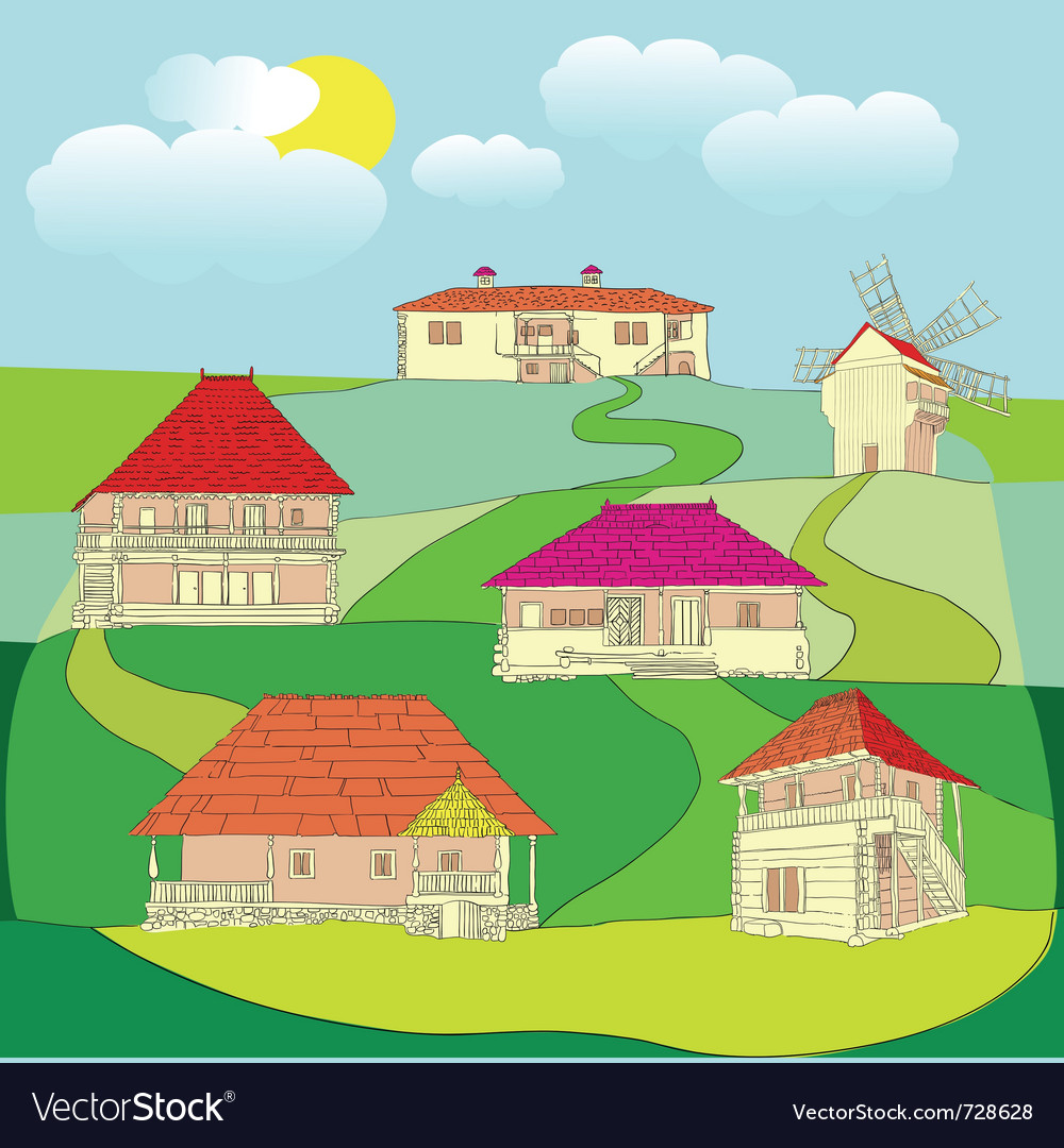 Houses and old windmill vector