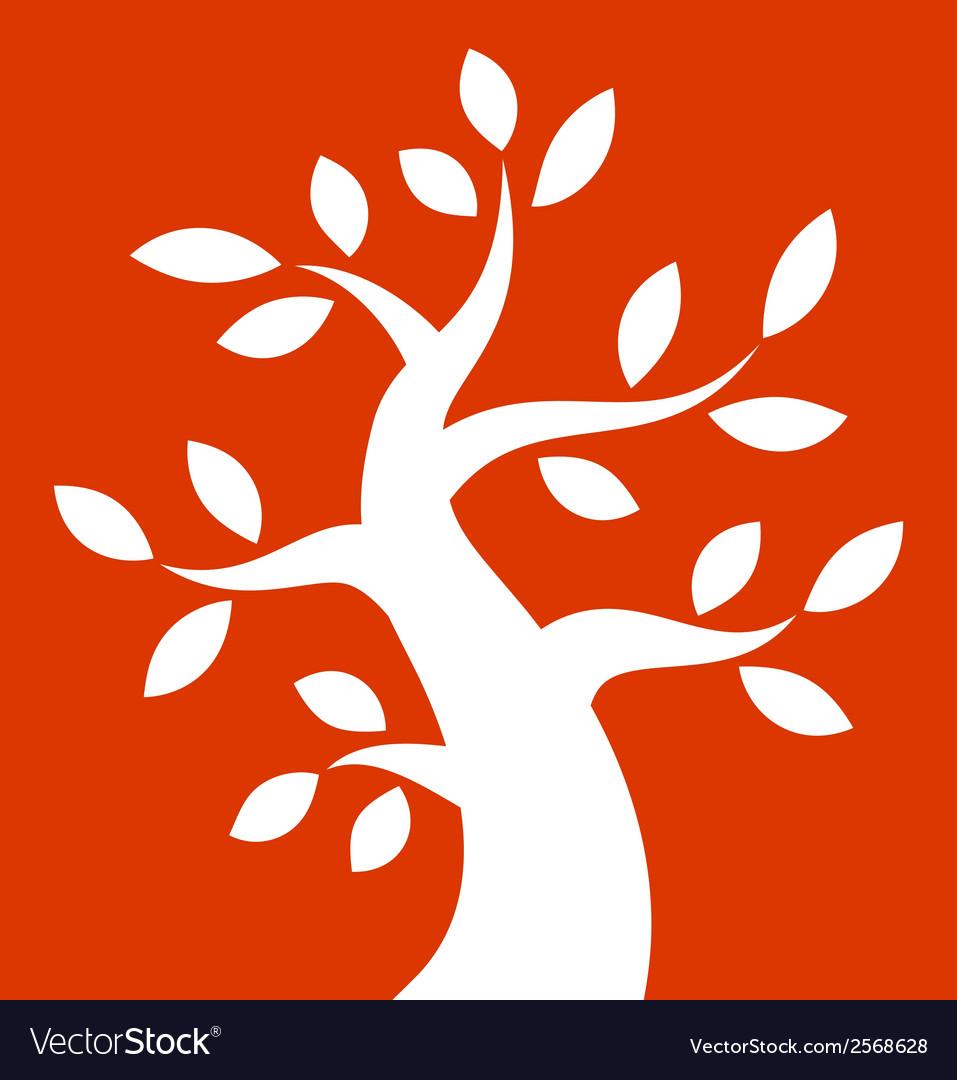 White bold tree icon on orange background vector