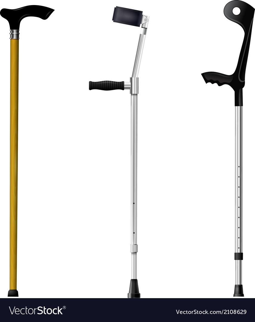 Set of orthopedic walking sticks on white backgrou vector