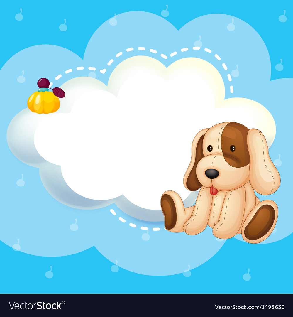 A blue stationery template with a puppy vector