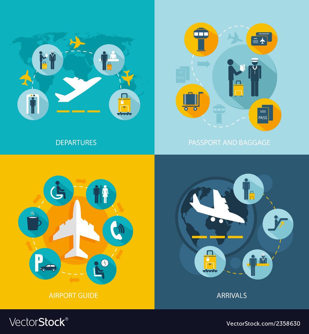 Airport terminal flight services vector