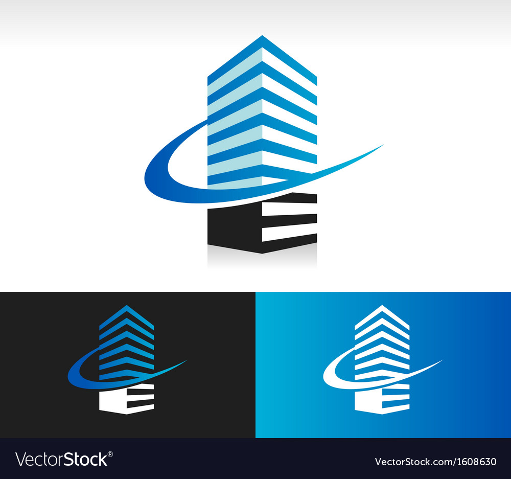 Swoosh modern building logo icon vector